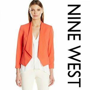 NWT Nine West Orange Kiss Front Blazer